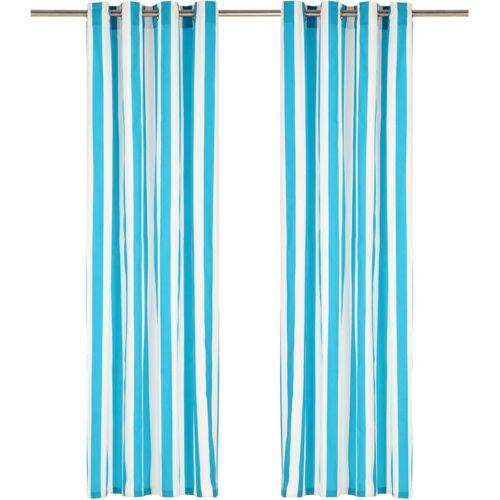 Zqyrlar - Vorhänge mit Metallösen 2 Stk. Stoff 140 x 245 cm Blau