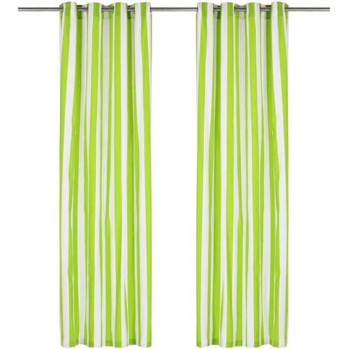 Zqyrlar - Vorhänge mit Metallösen 2 Stk. Stoff 140 x 245 cm Grün