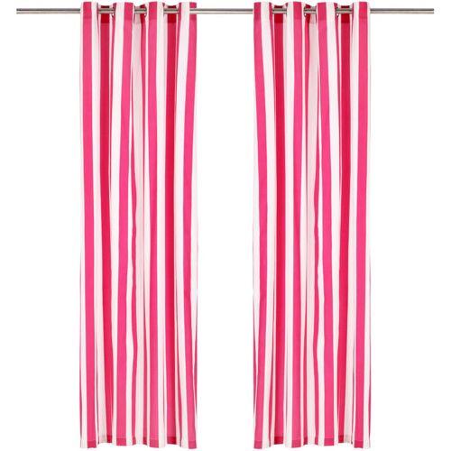 Zqyrlar - Vorhänge mit Metallösen 2 Stk. Stoff 140 x 245 cm Rosa