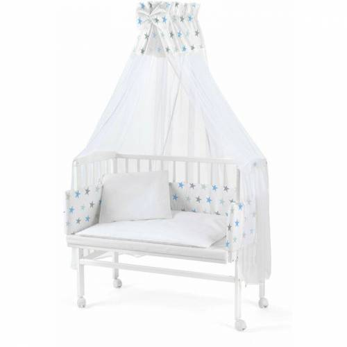 WALDIN Baby Beistellbett mit Matratze und Nestchen, höhen-verstellbar, Holz