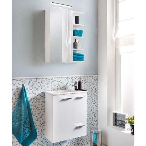 LOMADOX Waschplatz-Set Badezimmermöbel Set weiß inkl. Keramik Waschbecken