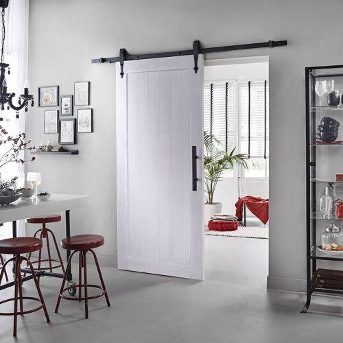 MS BESCHLÄGE Weiße Holzschiebetür Schiebetürsystem Komplett-Set DIY Raumteiler