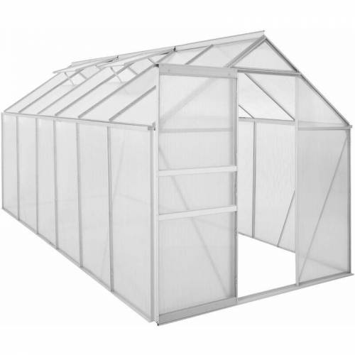 ZELSIUS Aluminium Gewächshaus 380 x 190 cm, 6 mm Platten, 7,22 m² - Zelsius