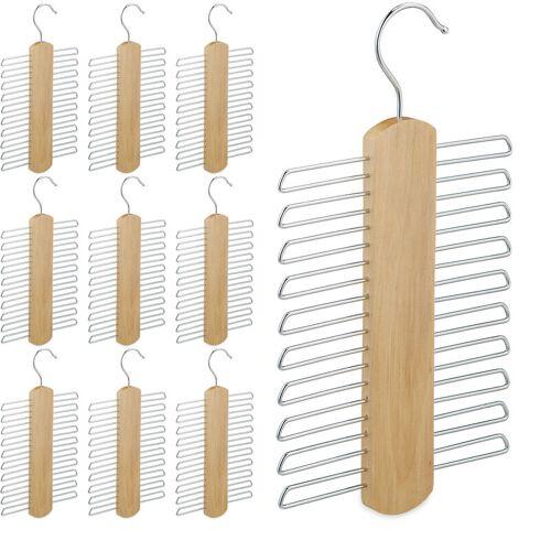 RELAXDAYS 10 x Krawattenbügel, je 20 Krawatten aufbewahren, Krawattenhalter für