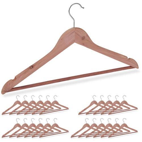 RELAXDAYS 24 x Kleiderbügel Zedernholz, Mottenschutz im Kleiderschrank, edles