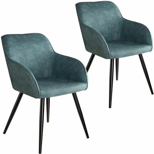 Tectake - 2er Set Stuhl Marilyn Stoff, schwarze Stuhlbeine - Stuhl,