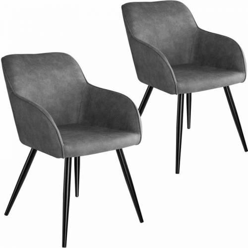 TECTAKE 2er Set Stuhl Marilyn Stoff, schwarze Stuhlbeine - Stuhl,