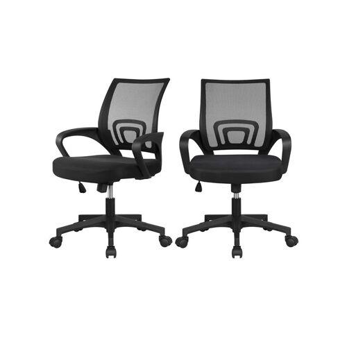 YAHEETECH 2x Bürostuhl ergonomischer Drehstuhl mit Netzrücken Bürodrehstuhl