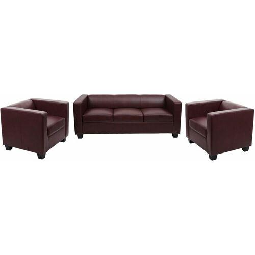 HHG - 3-1-1 Couchgarnitur Lille ~ Kunstleder, rot-braun