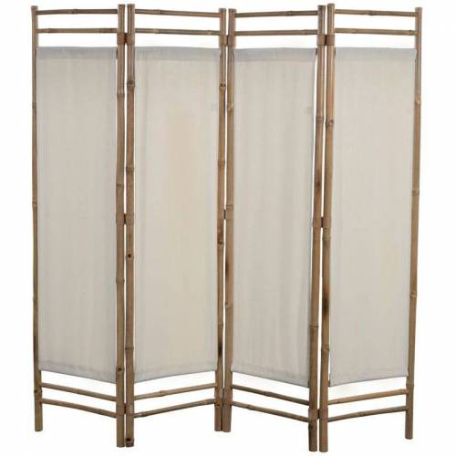 Asupermall - 4-Teiliger Faltbarer Raumteiler Bambus Und Leinwand 160 Cm