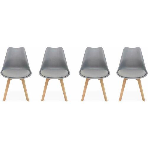 Alice's Home - 4er Set Skandinavische Stühle Nils, Grau, Beine aus