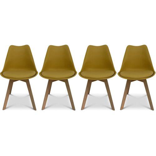 Alice's Home - 4er Set Skandinavische Stühle Nils, Gelb, Beine aus