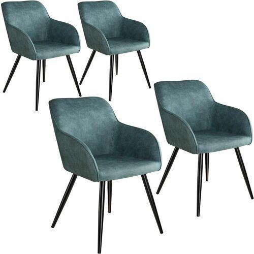 Tectake - 4er Set Stuhl Marilyn Stoff, schwarze Stuhlbeine - Stuhl,