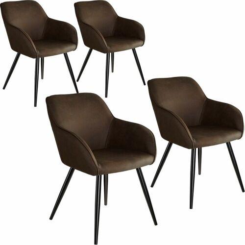 TECTAKE 4er Set Stuhl Marilyn Stoff, schwarze Stuhlbeine - Stuhl,