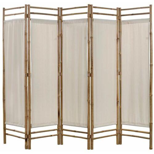 Asupermall - 5-teiliger Faltbarer Raumteiler Bambus und Leinwand 200 cm