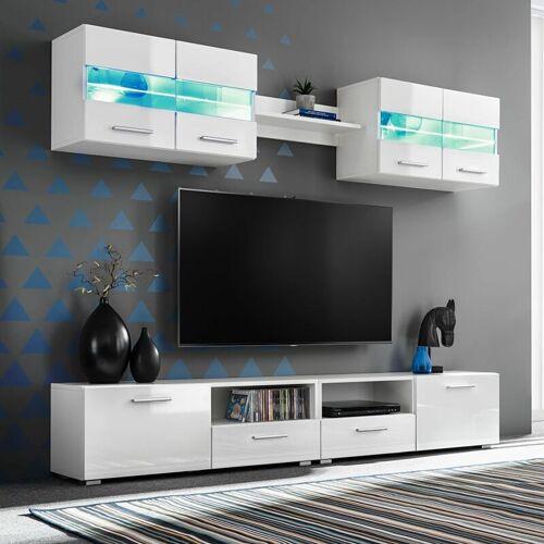 Zqyrlar - 5-tlg. TV-Wohnwand-Set mit LED-Leuchten Hochglanz-Weiß