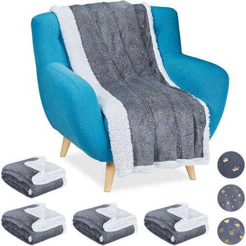 RELAXDAYS 5 x Kuscheldecke goldene Punkte, zweiseitige Couchdecke, flauschige