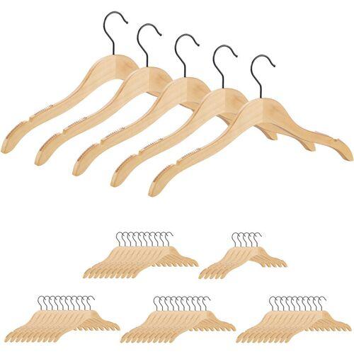 Relaxdays - 50 x Kleiderbügel Holz, beflockte & eingekerbte Bügel mit