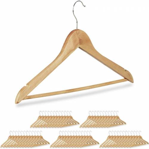 Relaxdays - 60 x Kleiderbügel, Hosenbügel aus Holz, Garderobenbügel,