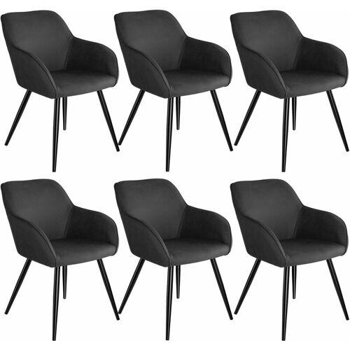 TECTAKE 6er Set Stuhl Marilyn Stoff, schwarze Stuhlbeine - Stuhl,