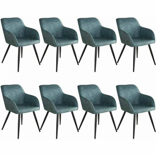 TECTAKE 8er Set Stuhl Marilyn Stoff, schwarze Stuhlbeine - Stuhl,