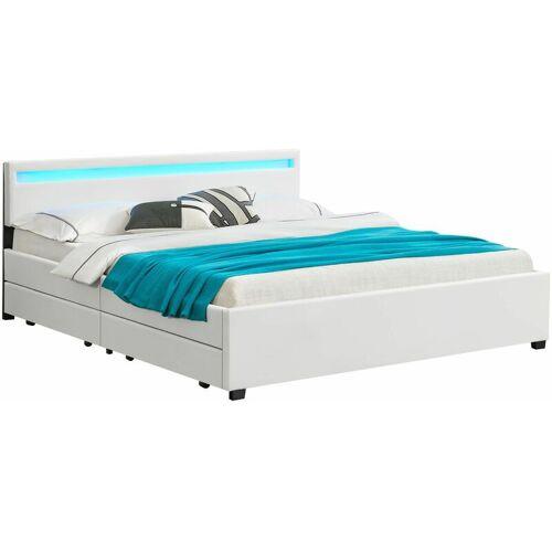 ArtLife Polsterbett Lyon mit Bettkasten 180 x 200 cm - weiß - Artlife