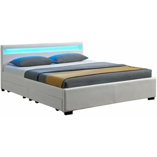 ArtLife Polsterbett Lyon mit Bettkasten 140 x 200 cm - weiß - Artlife