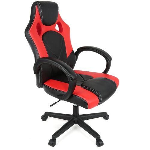 BATHRINS®Bürostuhl Pro Gaming Chair PU Schalensitz Gaming Rot / Schwarz