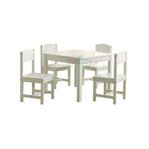 SUINGA Bauerntisch und 4 Stühle gesetzt. weiße Farbe