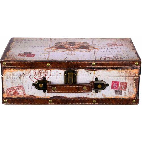 BIRENDY Truhe Kiste KD 1289 Koffer Krone Holztruhe mit Kunstleder