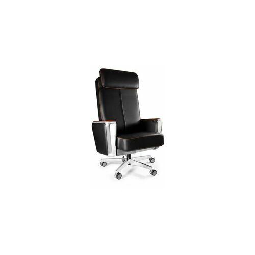 CERTEO Chefsessel Mark   Aus hochwertigem Naturleder   Schwarz Bürostuhl