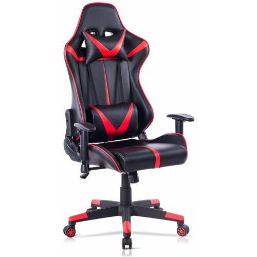 WOLTU Bürostuhl mit Kopf- und Lendenkissen rot - WOLTU