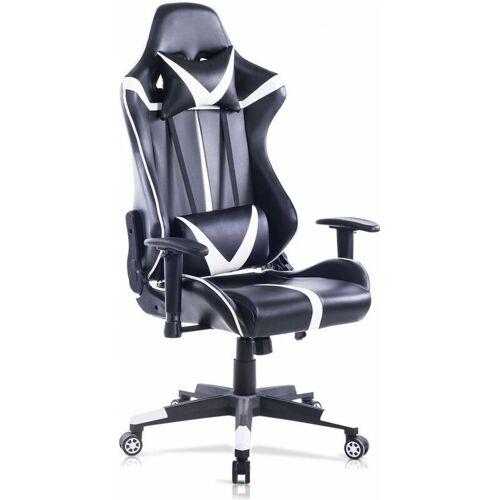WOLTU Bürostuhl mit Kopf- und Lendenkissen weiß