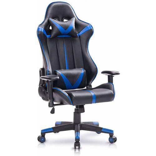 WOLTU Bürostuhl mit Kopf- und Lendenkissen blau - WOLTU