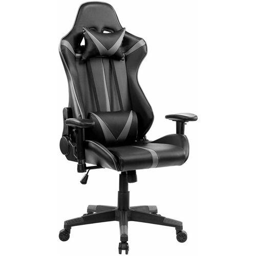 WOLTU Bürostuhl mit Kopf- und Lendenkissen grau