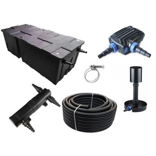 AQUARISTIKWELT24 Kammerfilter Set CBF 550 B mit 50W Eco Pumpe 10m Schlauch bis 90.000l