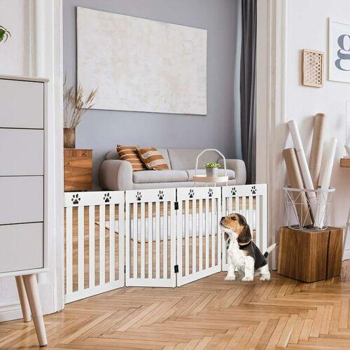 COSTWAY Absperrgitter Hunde, Schutzgitter Holz, Kindergitter klappbar,