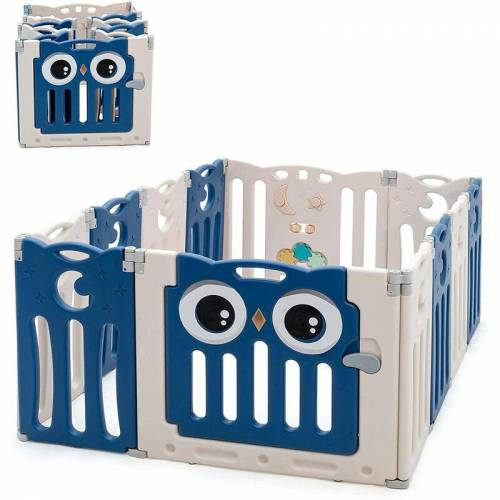 COSTWAY Laufgitter mit Tür und Spielzeugboard, Baby Laufstall faltbar,