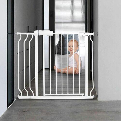 COSTWAY Treppenschutzgitter Babygitter weiss, Kindertreppen Gitter ohne Bohren,
