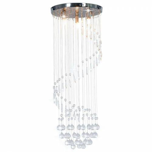 ZQYRLAR Deckenleuchte mit Kristallperlen Silbern Spirale G9