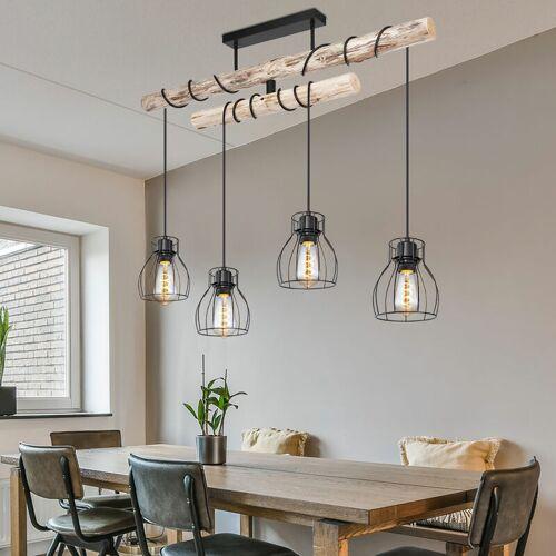 ETC-SHOP Decken Pendel Leuchte Holz Balken Wohn Ess Zimmer Beleuchtung Käfig