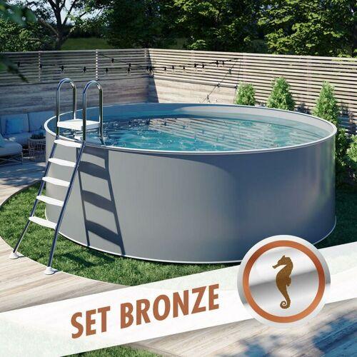 Pool Total - Rundpool-Set BRONZE Ø 3,00 x 1,20 m anthrazit, Folie grau,