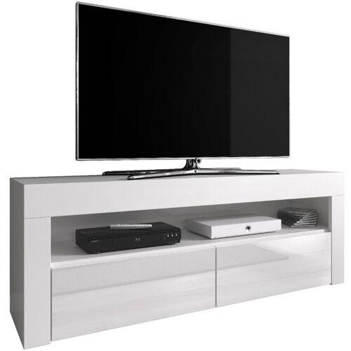 e-Com - TV-Lowboard Fernsehschrank Fernsehtisch Luna - 140 cm - Weiss
