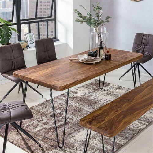 Lomadox - Esstisch Massivholz Sheesham Esszimmer-Tisch Holztisch mit