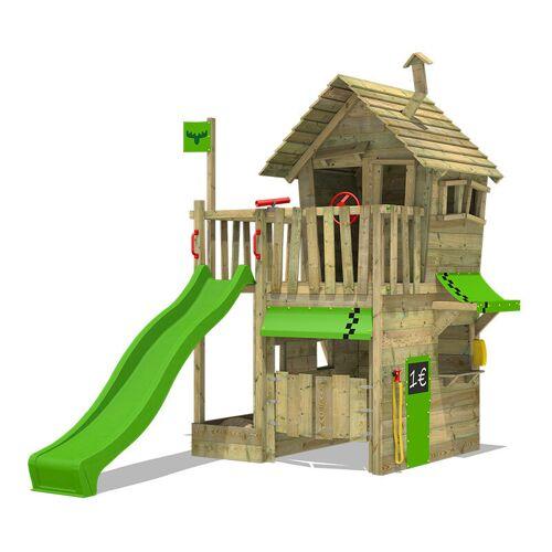 Fatmoose Spielturm Klettergerüst RebelRacer mit apfelgrüner Rutsche, Spielhaus
