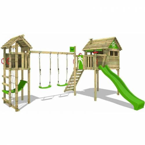 Fatmoose Spielturm Klettergerüst FunFactory mit Schaukel TowerSwing &