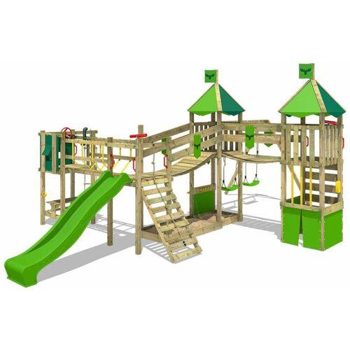 Fatmoose Spielturm Ritterburg FunnyFortress mit Schaukel & apfelgrüner Rutsche,