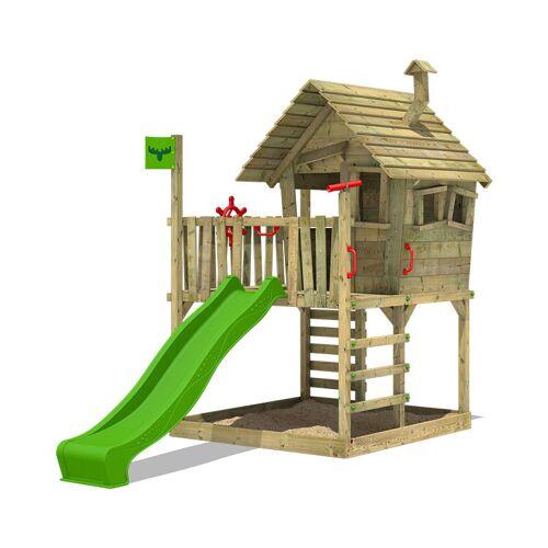 Fatmoose Spielturm Klettergerüst WackyWorld mit apfelgrüner Rutsche, Spielhaus