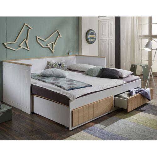 Relita - Funktionsbett Jugendbett Gästebett AARHUS-13 weiß/Buche mit 2