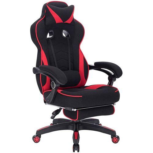Woltu - Gaming Stuhl aus Stoff mit Lendenkissen Hani rot